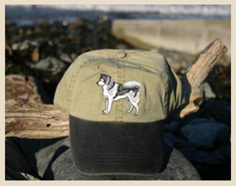 Alaskan Malamute Cap, embroidered, tan with black brim