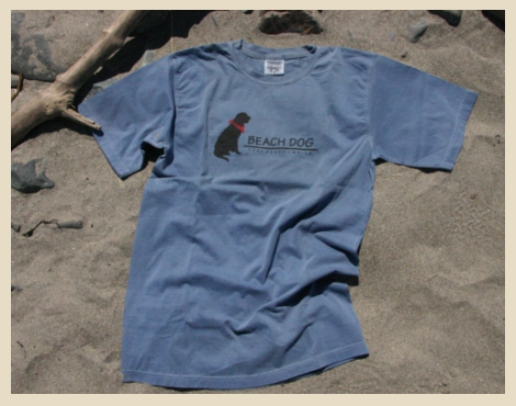 100 % cotton Unisex T-shirt with classic Beach Dog Logo, York Beach, Maine.