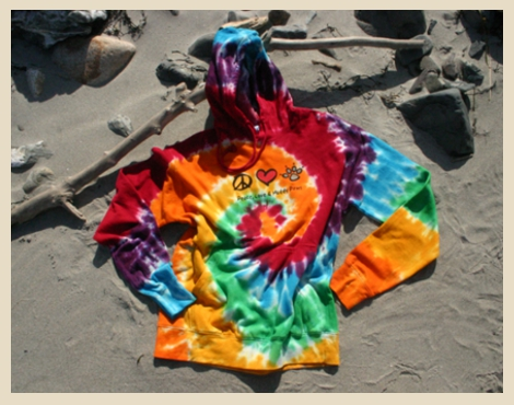Peace, Love and Muddy Paws Hoodie, Tie Dyed, 100% Cotton