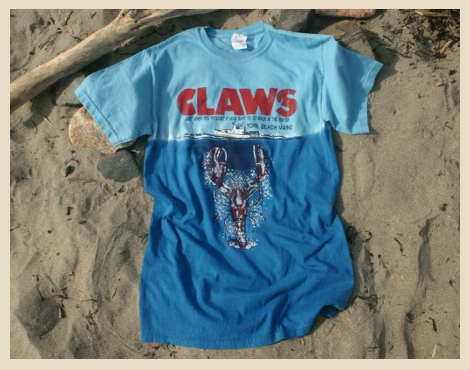 Claws T-shirt, Just when you thought it was safe to go back in the water, York Beach, maine, Jaws spoof with lobster