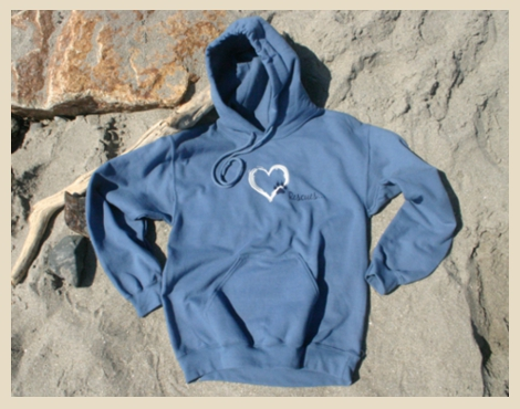 Heart Rescue Hooded Sweatshirt, Rescue Dogs Hoodie designed exclusively for Beach Dog, York Beach, Maine