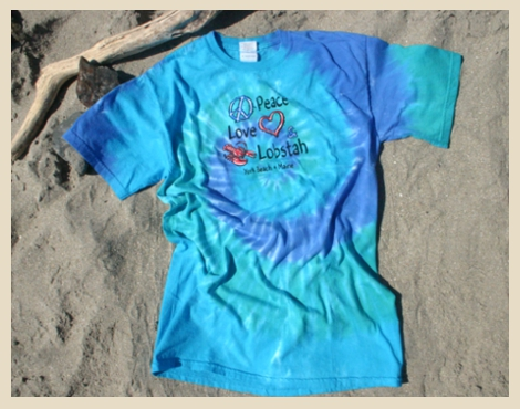 Peace Love and Lobstah, Peace Love and Lobster, tie dye t-shirt, Beach Dog, York Beach, Maine