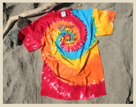 Peace Love Sandy Feet, tie dye t-shirt, available at Beach Dog, York Beach, Maine